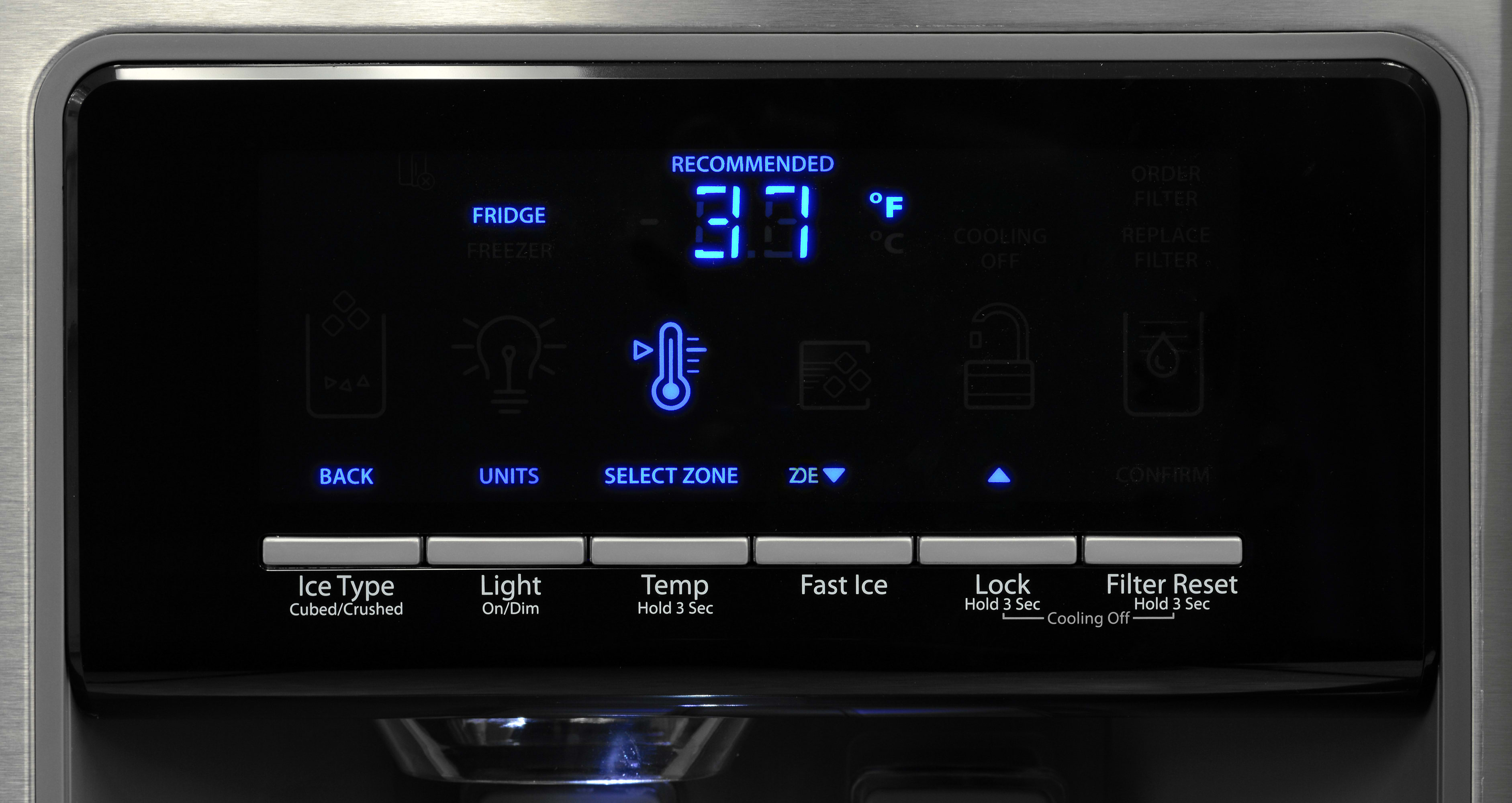 The Whirlpool WRS571CIDM's frequently used features are easy to access, while other options—adjusting the temperature, for instance—take a little more effort.