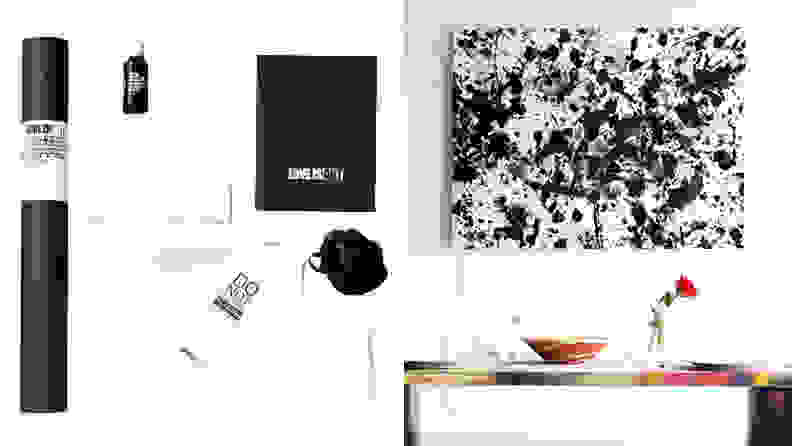 Left: canvas and black packaging Right: Black and white painted canvas mounted on white wall