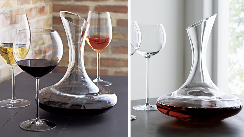 Two images of wine carafe