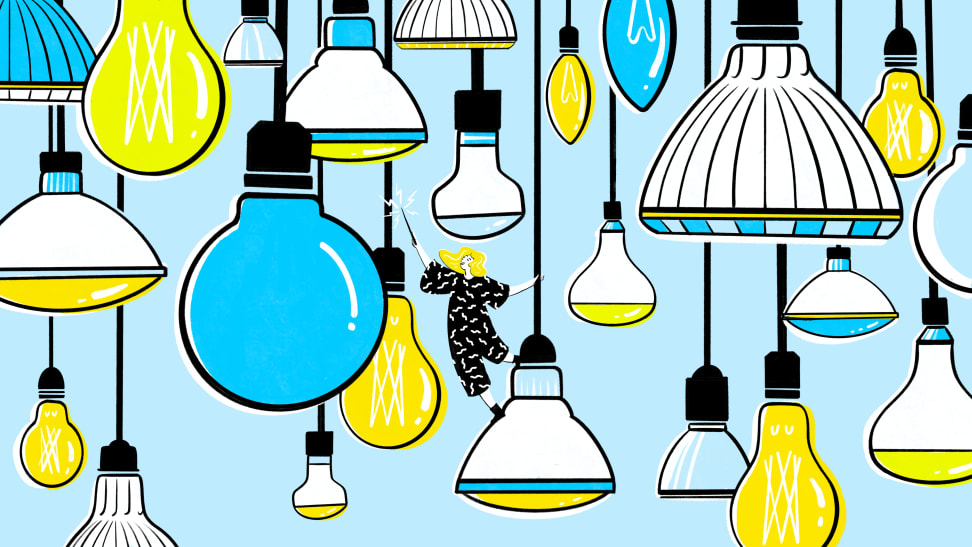 A unique illustration showing a variety of light bulbs hanging, with a woman in the center