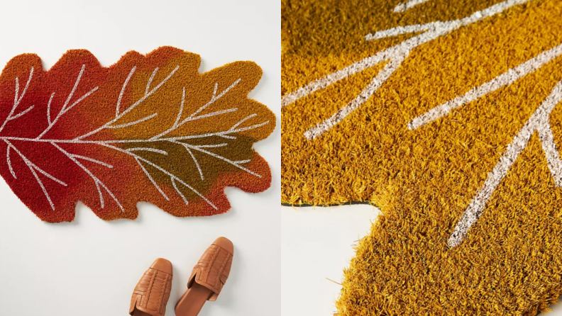 Left: leaf-shaped doormat next to shoes, right: close-up of leaf doormat