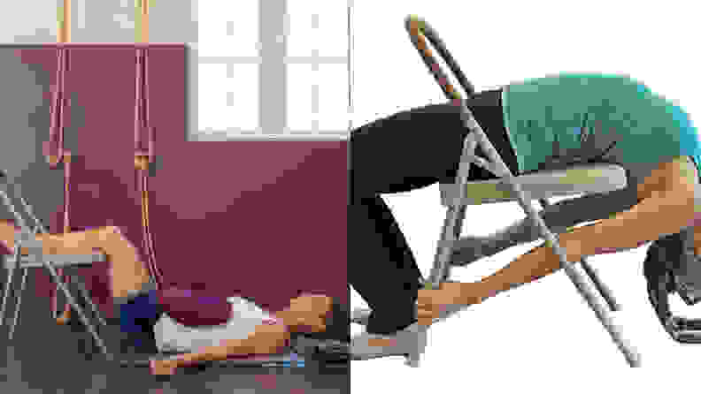 Two separate images, each of a different yogi stretching and holding a pose with the help of a folding chair.