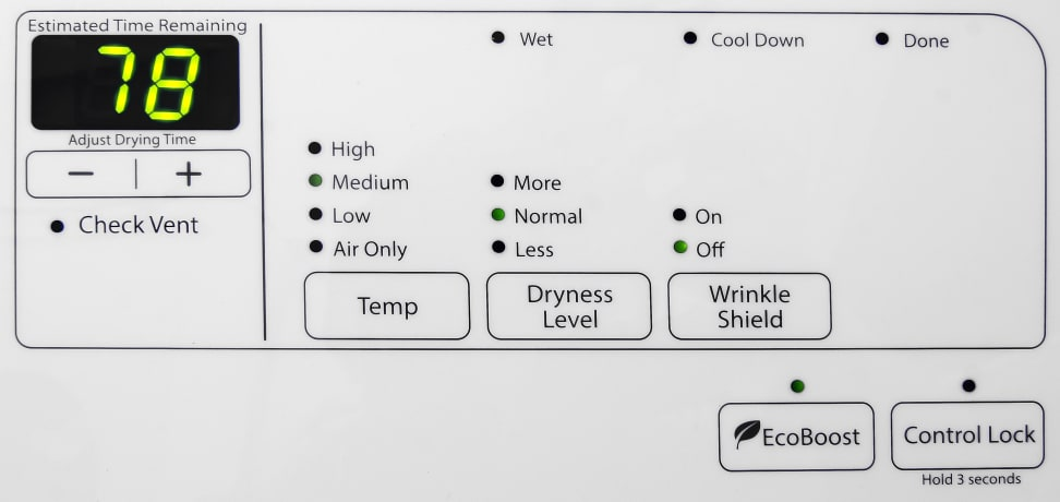 Whirlpool Duet WED72HEDW Controls