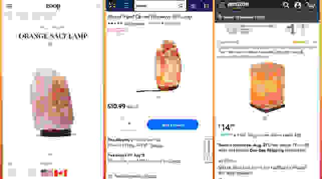 Himalayan salt lamps at retail