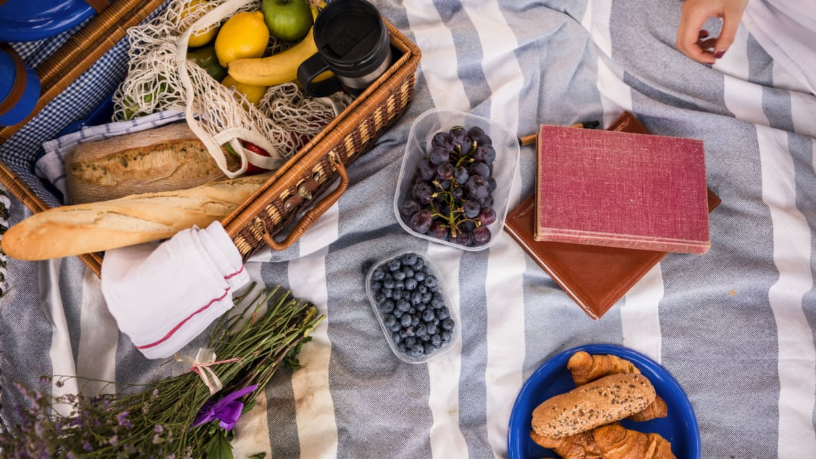 Food spread out on a picnic blanket.