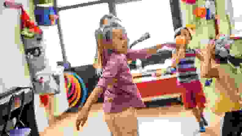 A group of kindergarteners dancing