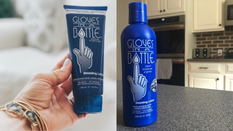 Person holding moisturizer in hand. On right, blue bottle of Gloves in a Bottle sitting on countertop in kitchen.