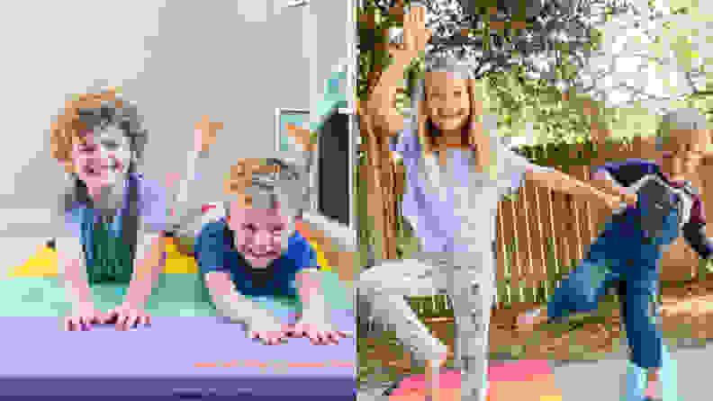 kids playing on antsy pants mat