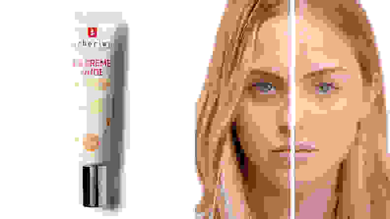 On the left: A tube of the Erborian BB Crème. On the right: A person's face before and after applying the BB cream.