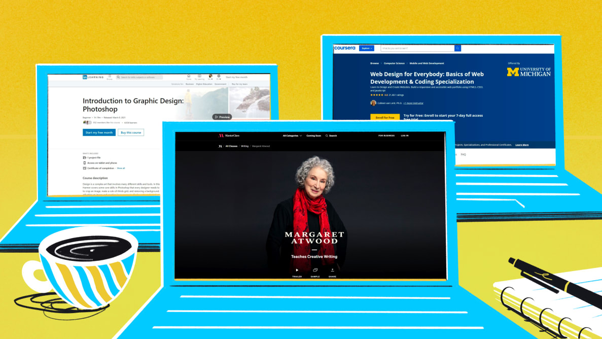 Snapshots of the best online learning platforms available today. From left to right: LinkedIn Learning, MasterClass, Coursera.
