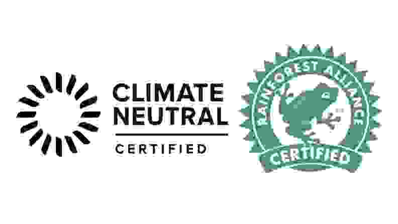 Climate Neutral seal and Rainforest Alliance seal on mattresses