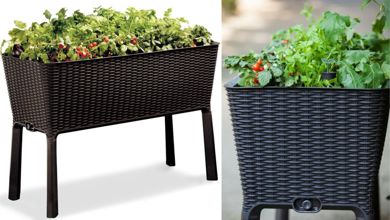 On left, brown Keter Easy Grow Raised Garden Bed filled with plants and vegetables. On right, graphite colored Keter Easy Grow Raised Garden Bed filled with plants and vegetables.