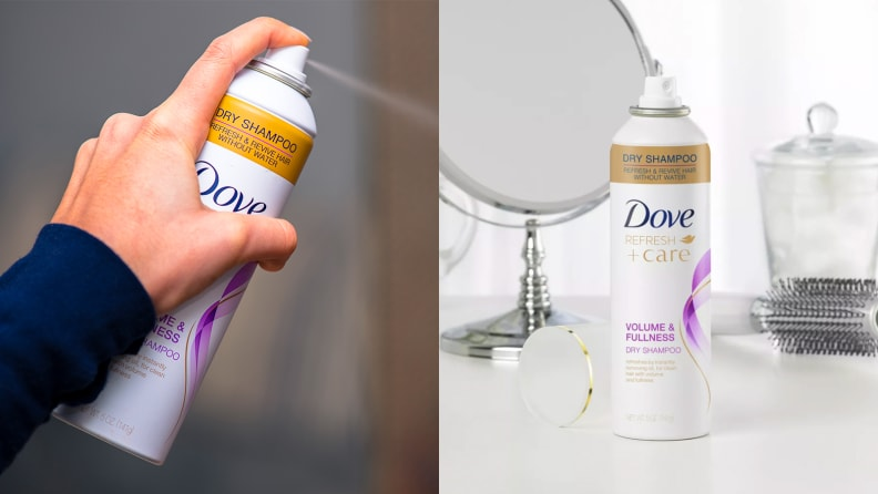 On the left: A hand spraying a canister of Dove dry shampoo. On the right: A white bottle of the Dove Care Between Washes Dry Shampoo on a vanity.