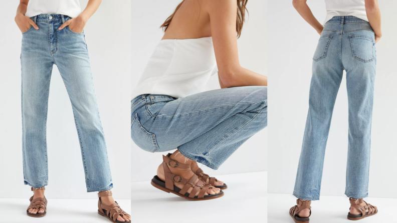 woman wearing light wash denim jeans