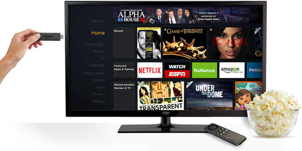 Amazon Fire TV and on-screen user interface