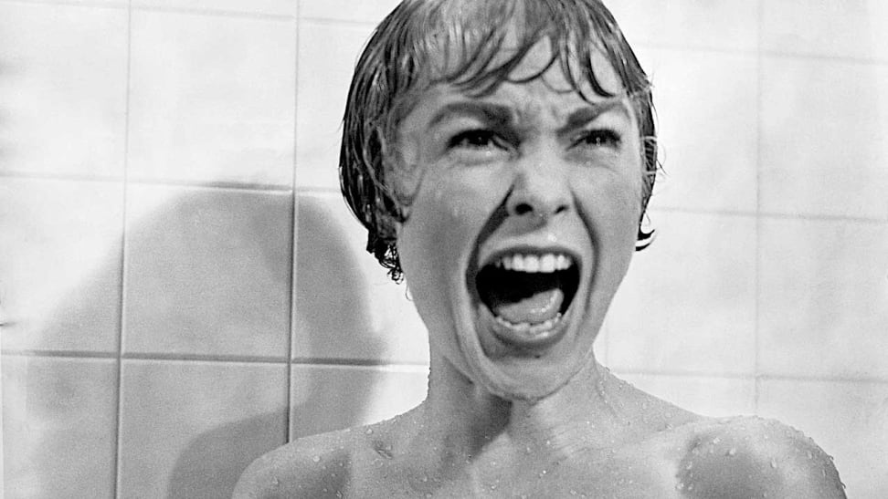 """Janet Lee screaming in a shower, in a scene from """"Psycho."""""""