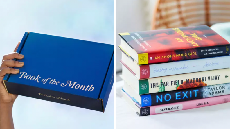 A Book of the Month subscription box and a stack of novels.