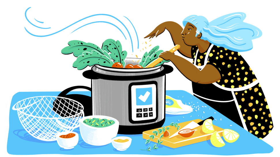 An illustration of a person using a pressure cooker to make a meal.
