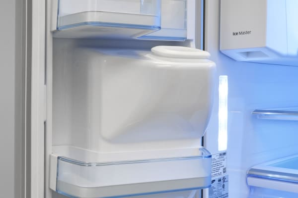 The Samsung RF30HBEDBSR's bulky ice chute takes up a lot of room, and is a surprising element in an otherwise sleek fridge.