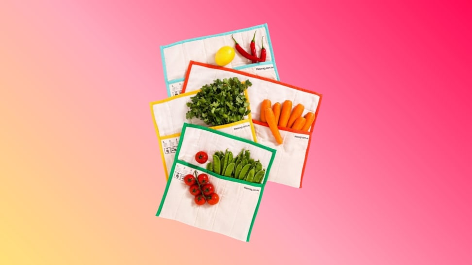 A set of The Swag reusable produce bags against a colorful gradient background.