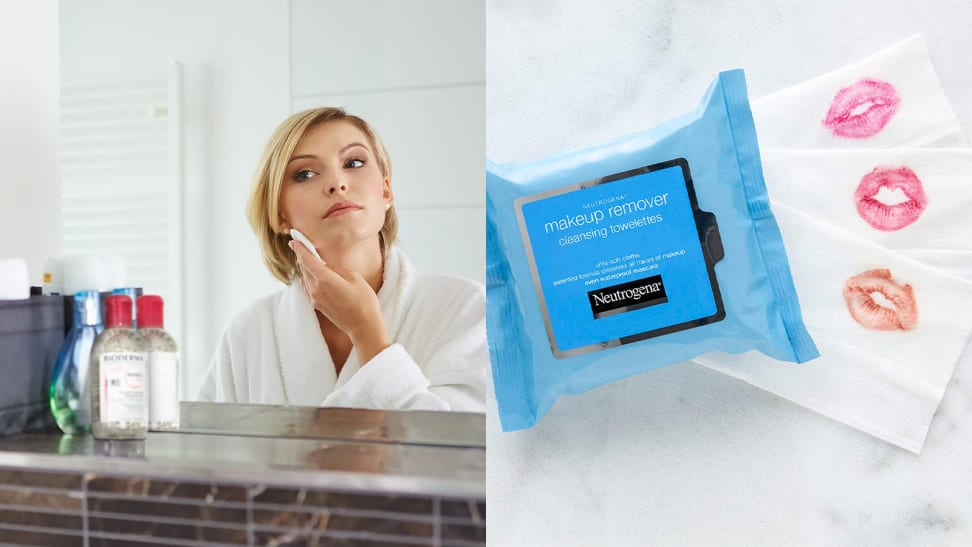 A photo of a woman removing her makeup next to a photo of Neutrogena Makeup Remover Cleansing Towelettes.