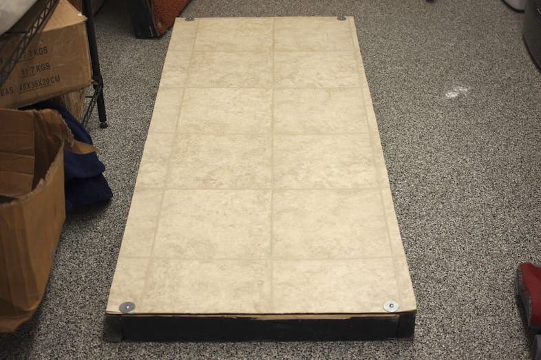 A linoleum surface is also used in our cleaning performance testing.
