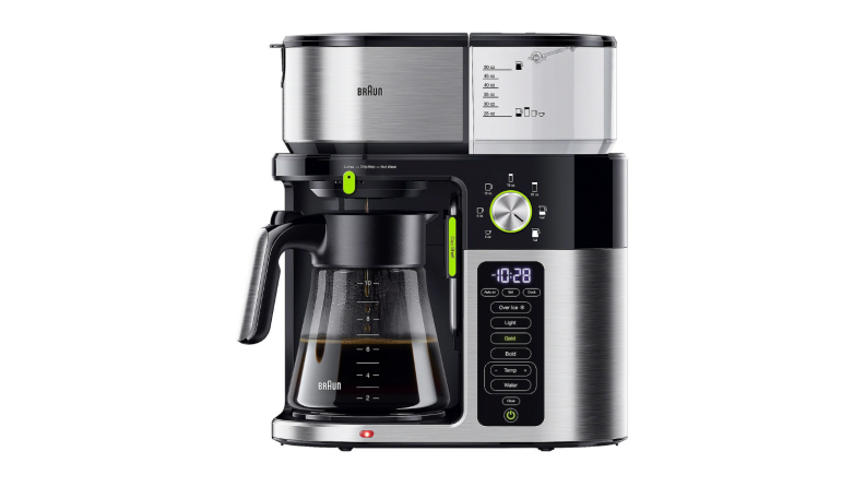 An image of a 10-cup coffee maker in black and silver with multiple settings listed on a panel along the side.