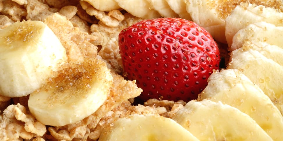 Strawberries and banana on cereal