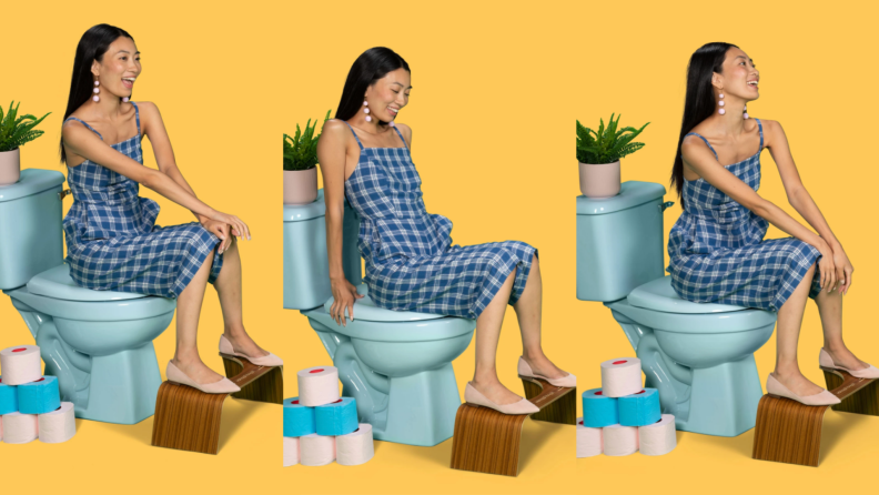 Three images of woman sitting on toilet using Squatty Potty while sitting on toilet in front of yellow background.