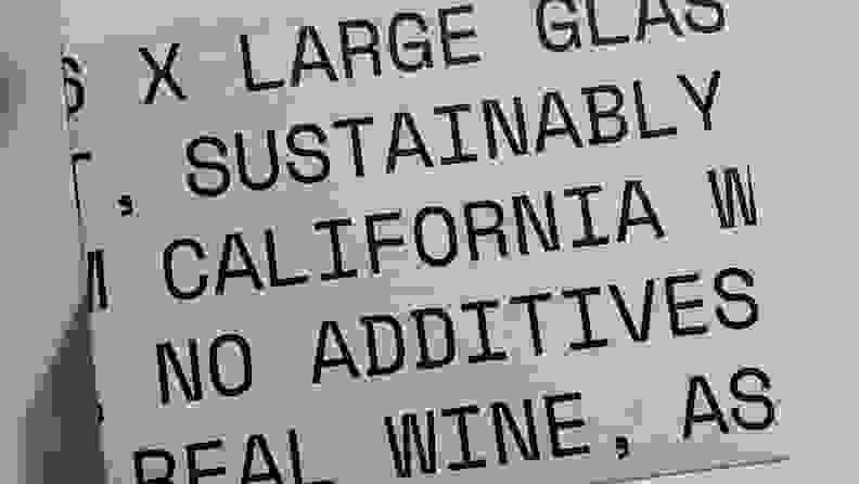 The Usual Wines box says it all: each bottle contains enough additive-free, California-made wine for exactly one large glass.