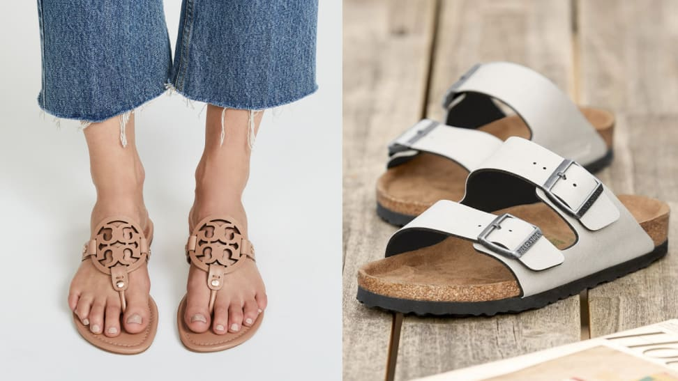 Women's sandals for summer: Tory Burch Miller sandal and Birkenstocks