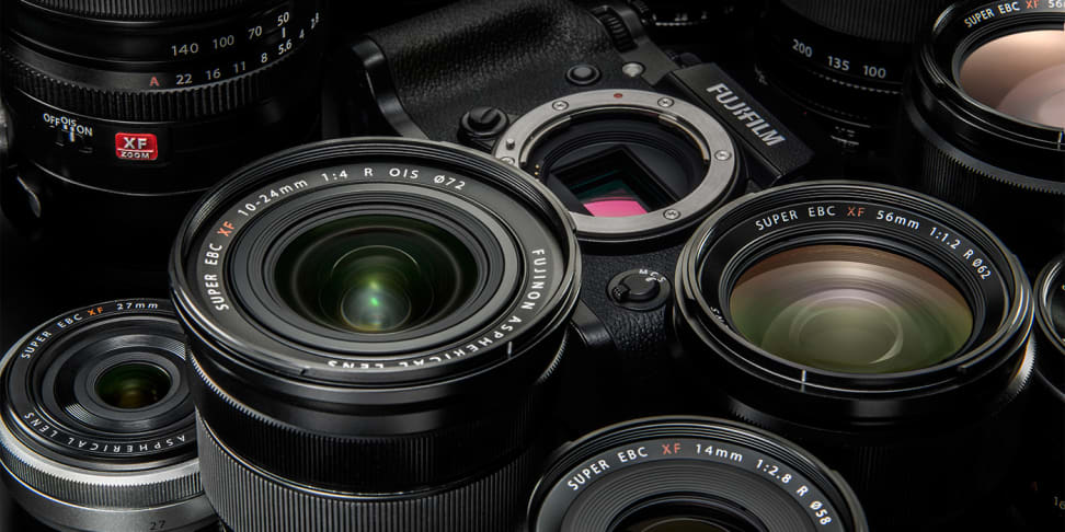 A variety of Fujifilm X-mount lenses