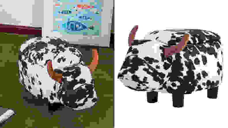 Merax Black and White Cow Ottoman