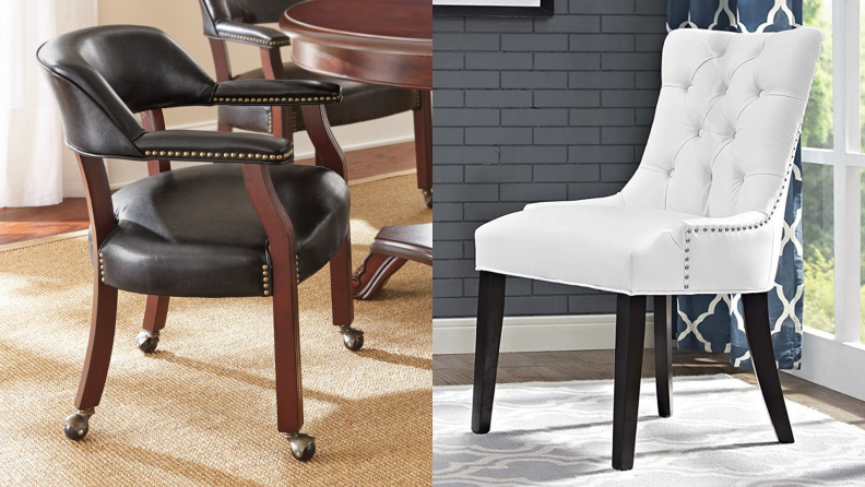 1) A dining chair with black vinyl cover. 2) A white vinyl-lined chair in a living room.