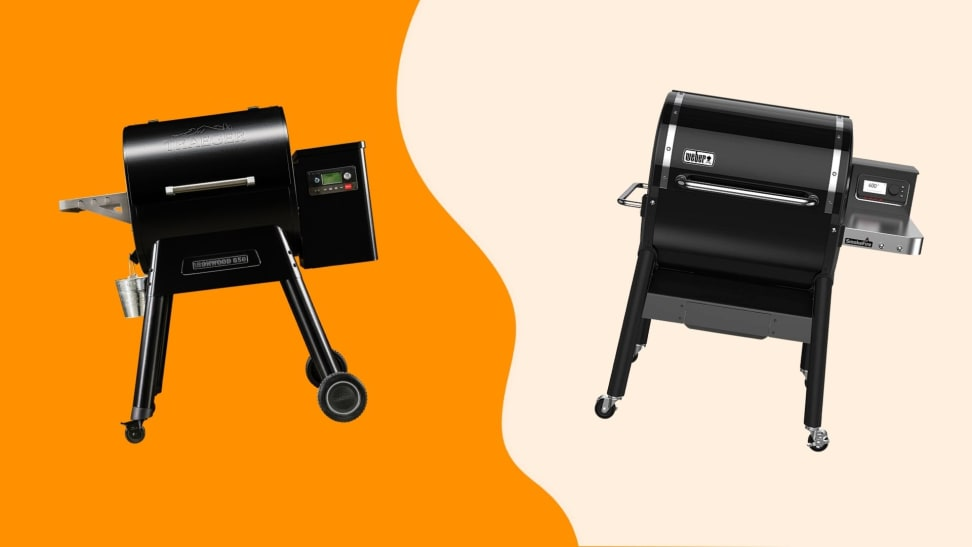 A Weber and a Traeger pellet grill, side by side on a colorful orange background.