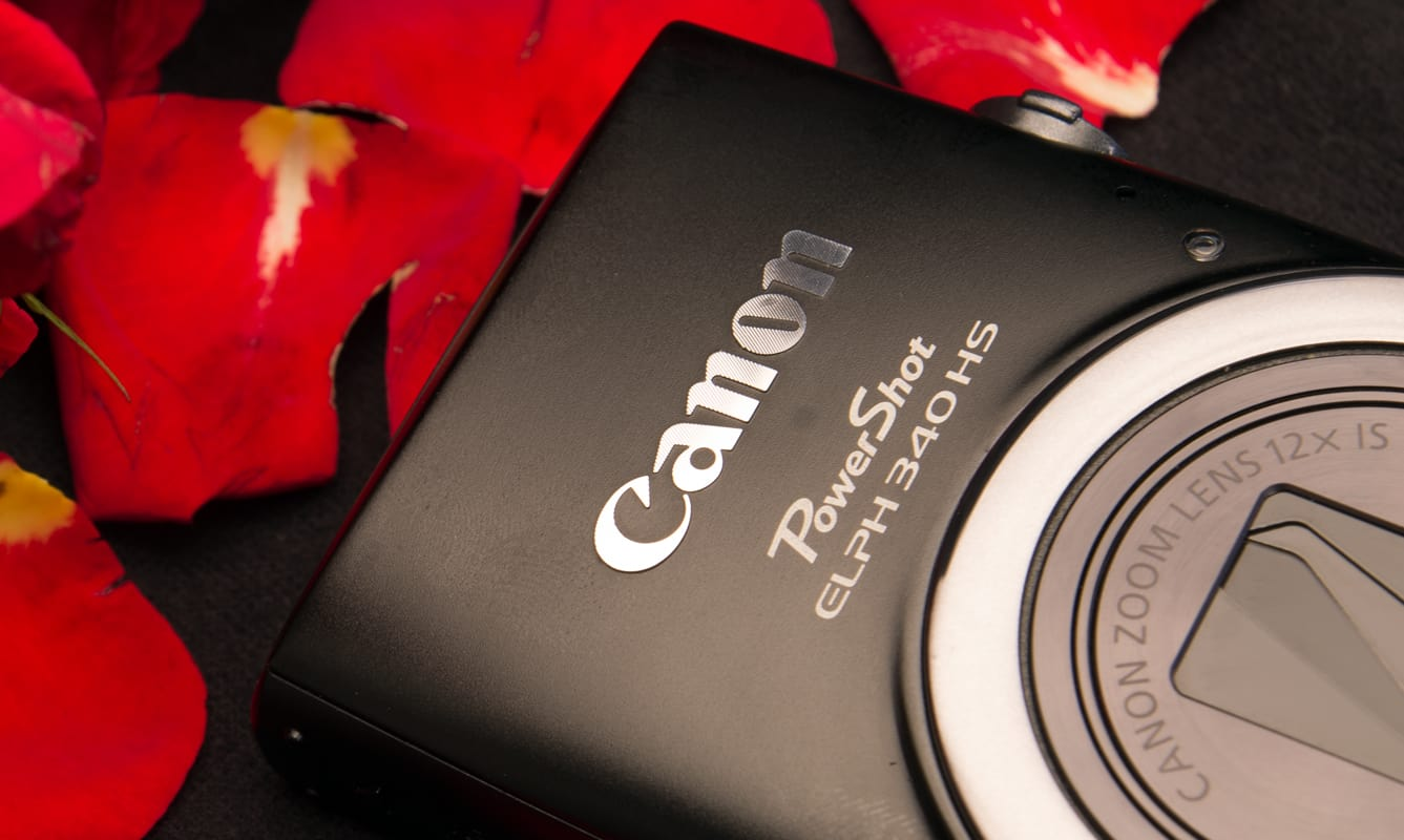 A glamor shot of the Canon PowerShot ELPH 340 HS.