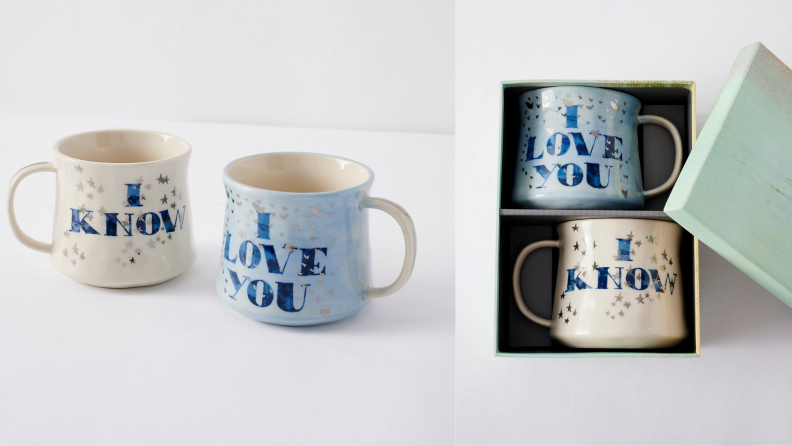 Best engagement gifts: Love mugs