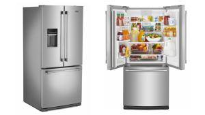 A side view of the Maytag MFW2055FRZ refrigerator on the left. A front view of the Maytag MFW2055FRZ refrigerator on the right.