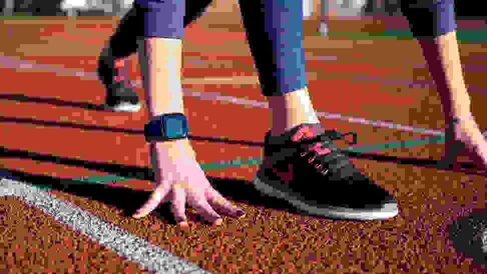 Fitbit Versa 2 on a runner wrist