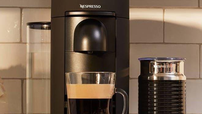 Black Nespresso single-serve espresso machine