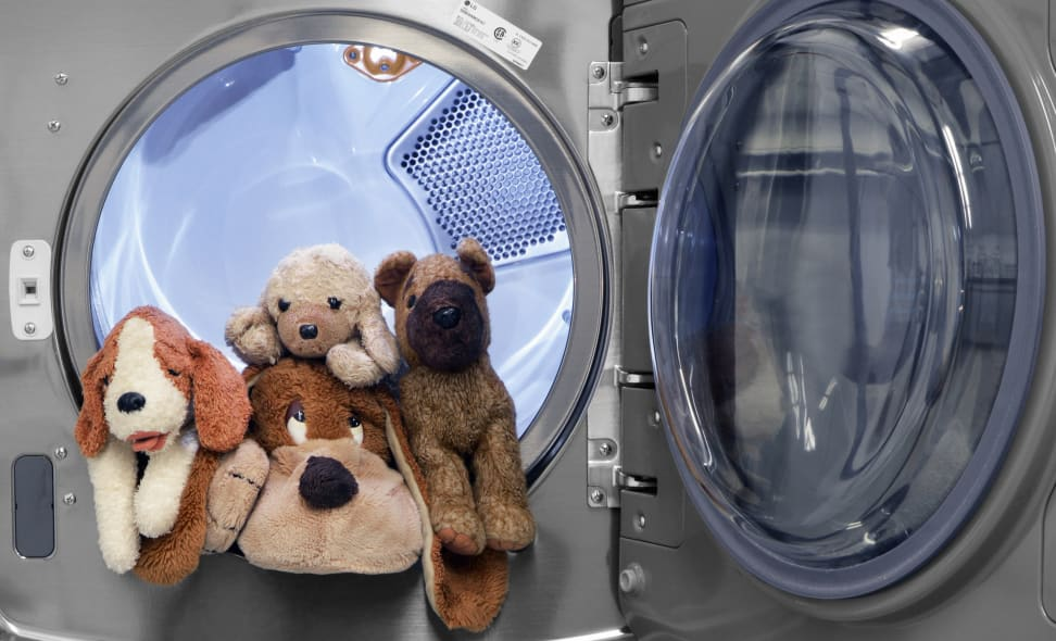 Stuffed animals in a dryer