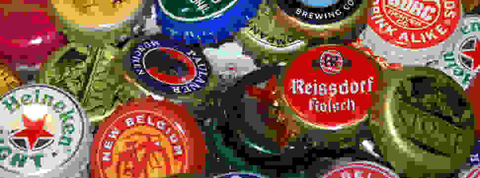A collection of beer bottle caps.