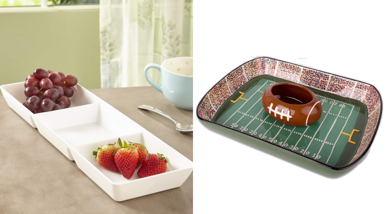 Football chip and dip set with three-compartment serving tray