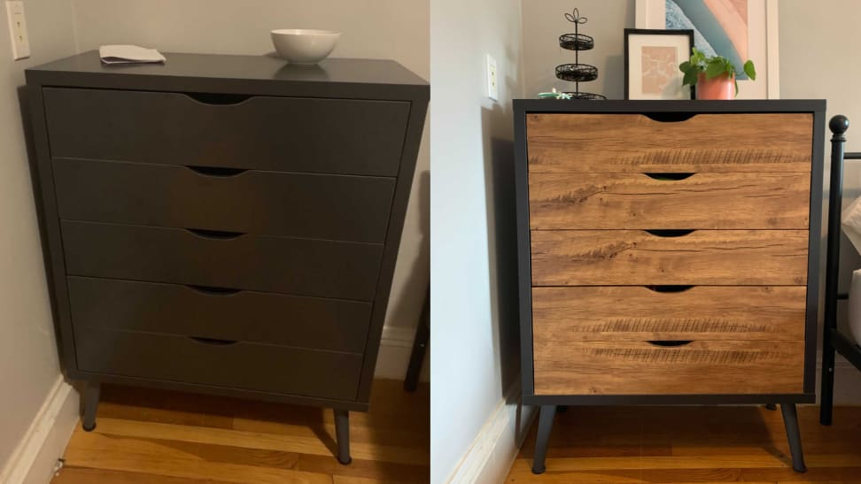 Left: plain gray dresser with no contact paper. Right: same dresser with wood-textured contact paper.