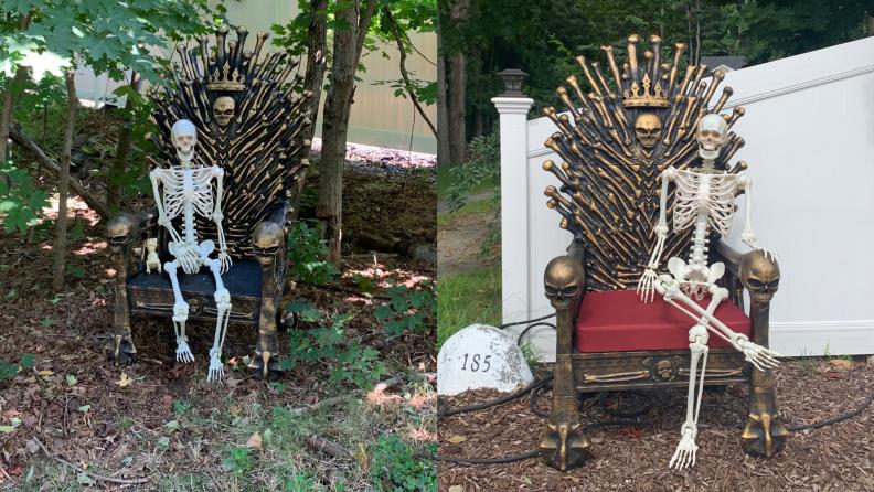 Two skeletons sitting on Bone Throne chair.
