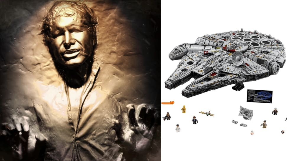 Han Solo in Carbonite and Millenium Falcom lego