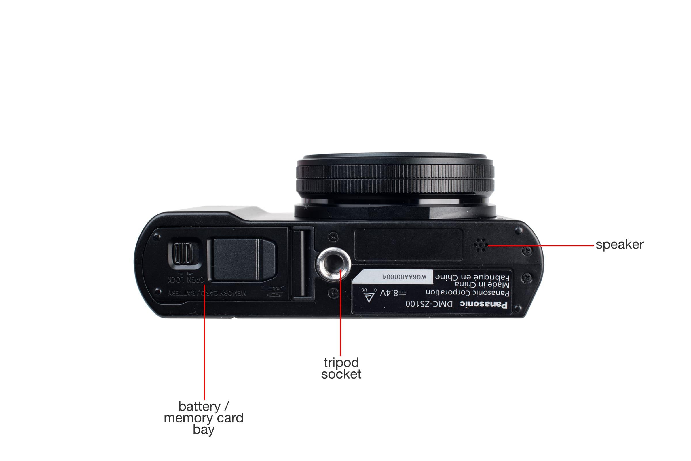 Bottom view of the Panasonic Lumix ZS100.