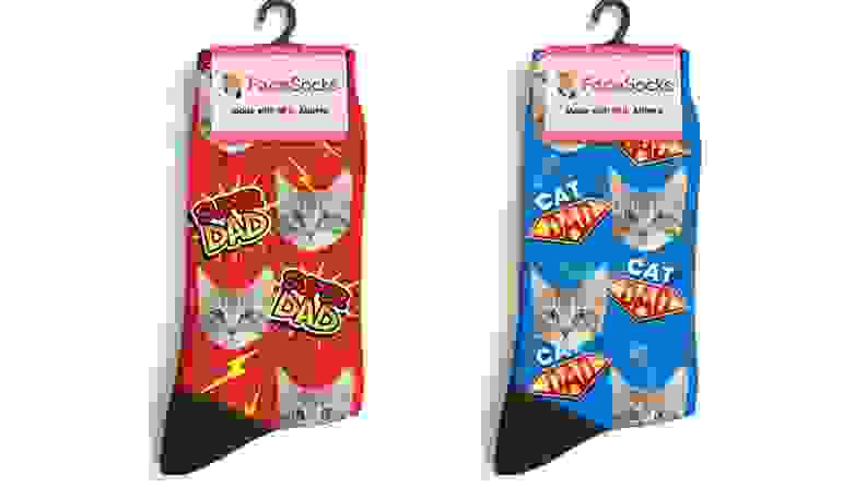 Two pairs of cat socks with their faces