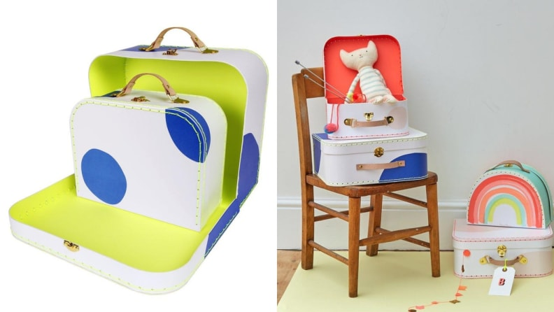 On left, colorful children's suitcase. On right, children's suitcases with toys inside.