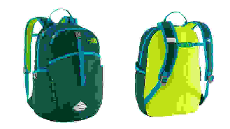 A green and yellow North Face bag shown in front and rear profile.